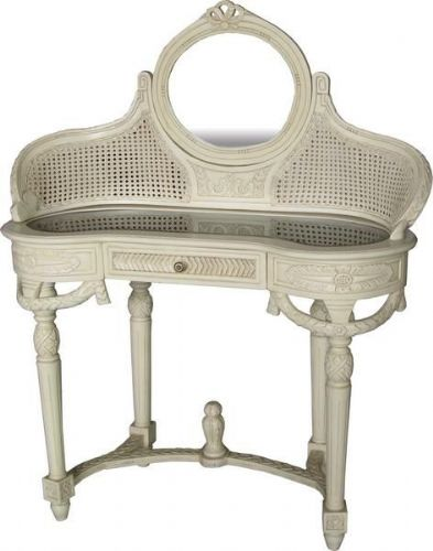 French Dressing Table and Mirror with Rattan